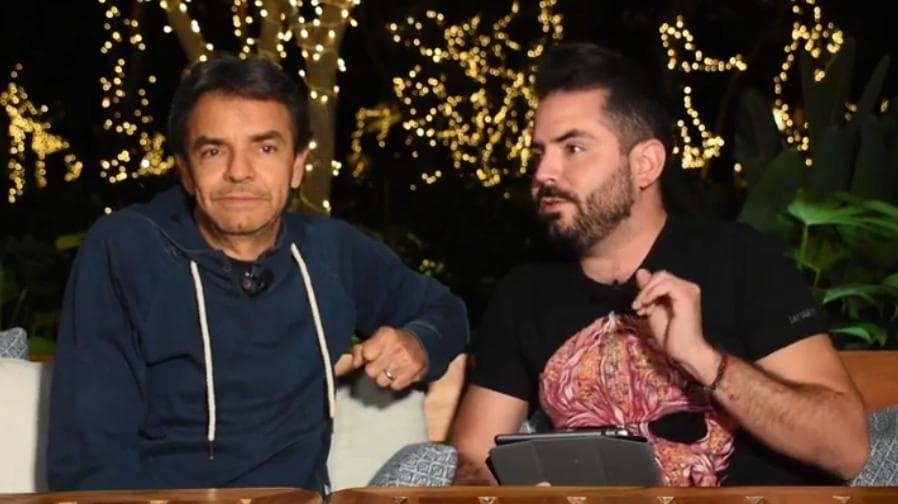 Foto captura de la entrevista de Eugenio Derbez con José Eduardo Derbez.