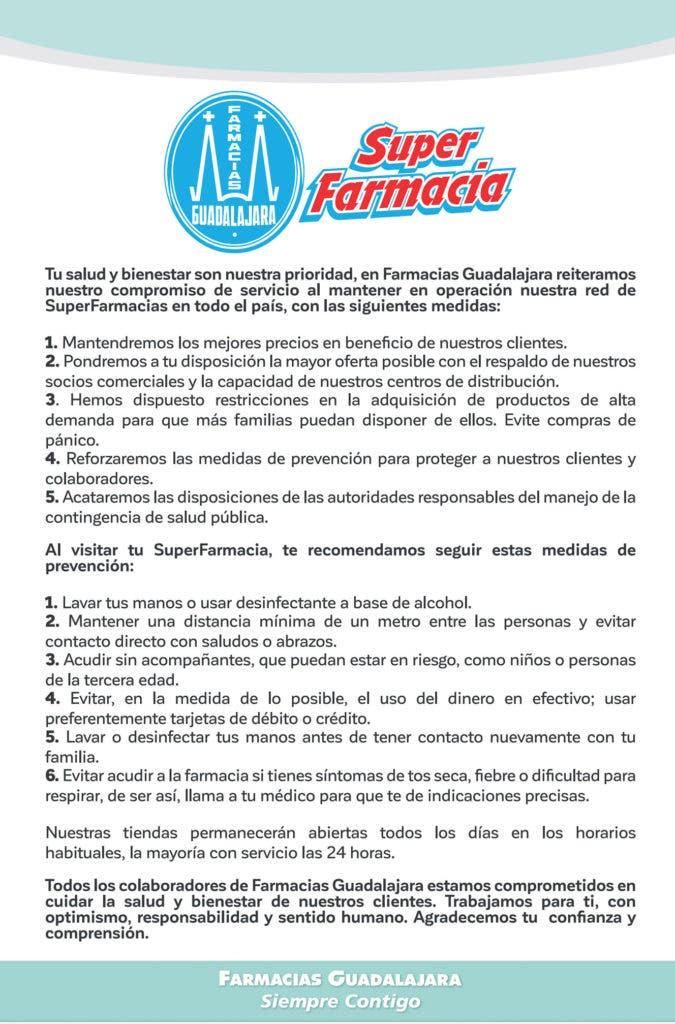 Farmacias Guadalajara COVID-19 medidas