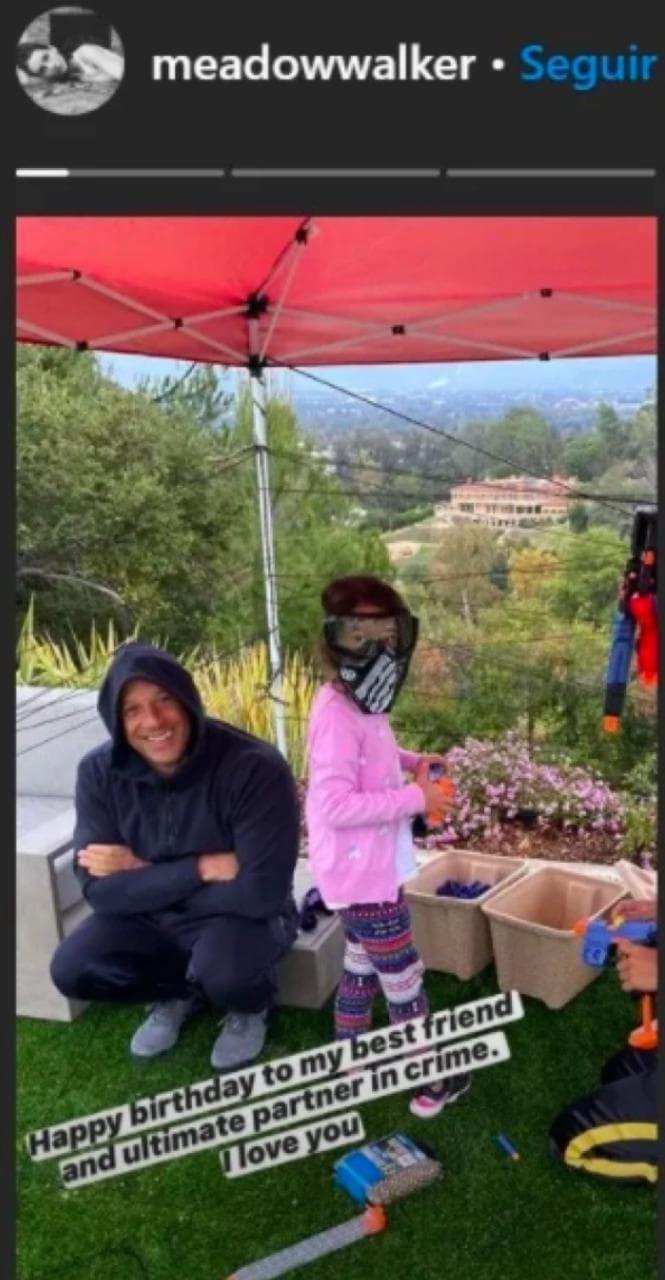 Meadow Rain Walker felicitó a Vin Diesel por su cumpleaños.