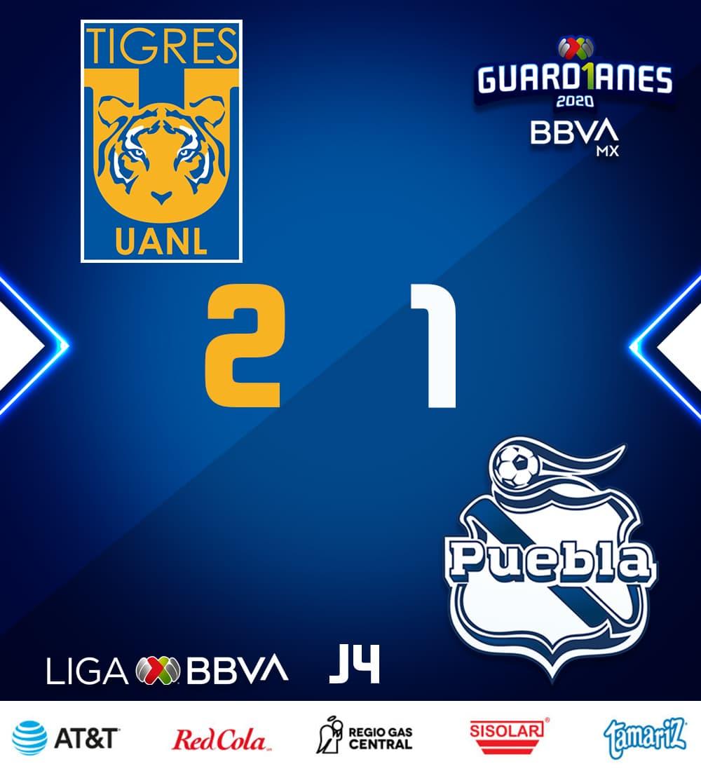 Tigres derrota a Puebla y asciende al liderato general del Guard1anes 2020.