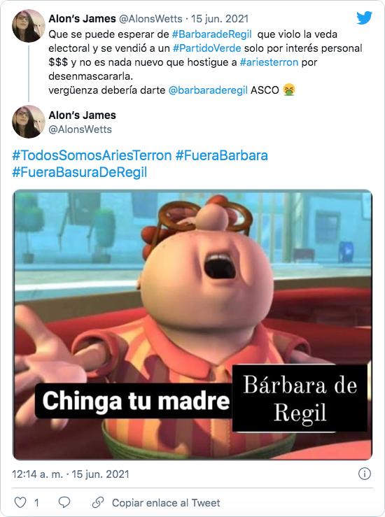 Tweet apoyando al nutriólogo Aries Terrón