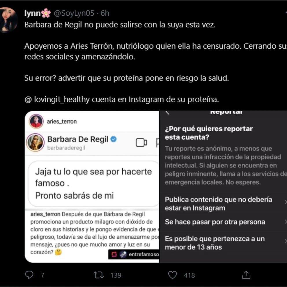 Tweet apoyando a Aries Terrón